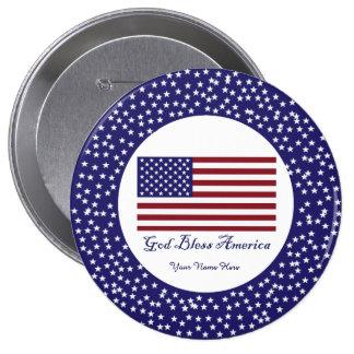 Dios bendice la bandera de América Pin Redondo De 4 Pulgadas