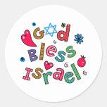 Dios bendice la expresión del texto de Israel Pegatinas Redondas