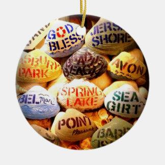 Dios bendice la orilla del jersey - ornamento del ornaments para arbol de navidad