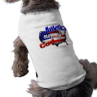Dios bendice la ropa del mascota de América Playera Sin Mangas Para Perro