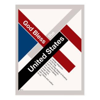 Dios bendice los Estados Unidos Tarjeta Postal