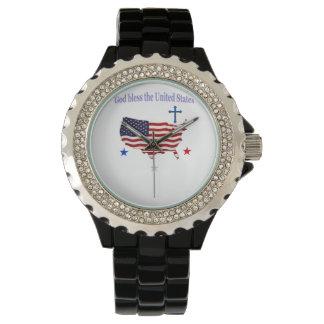 Dios bendice los regalos de América Reloj De Mano