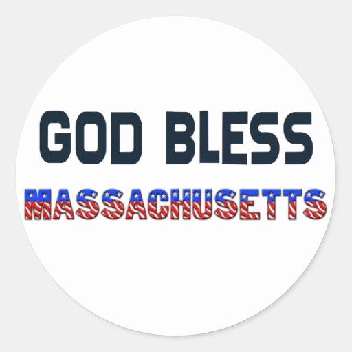 Dios bendice Massachusetts Pegatinas Redondas