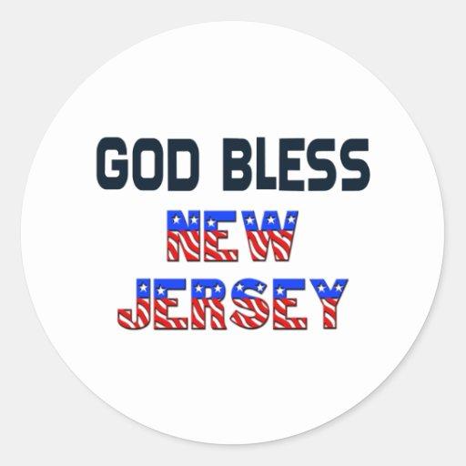 Dios bendice New Jersey Pegatina Redonda