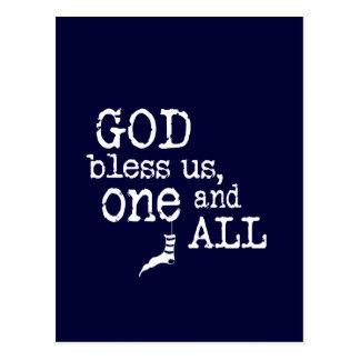 Dios bendice nos, uno y todo - navidad postal