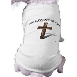 DIOS BENDICE NUESTRA FUERZA AÉREA con la cruz rugo Camisas De Perritos