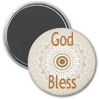 Dios bendice nuestros imanes caseros del imán redondo 7 cm