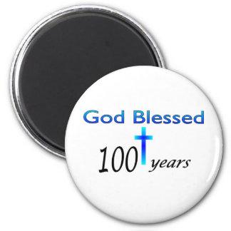 Dios bendijo 100 años de regalo de cumpleaños imanes de nevera
