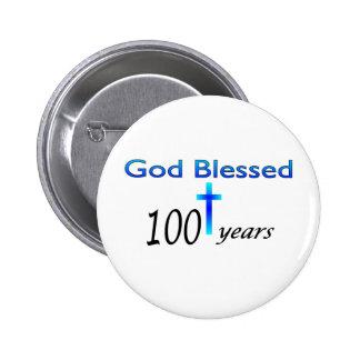 Dios bendijo 100 años de regalo de cumpleaños pin redondo 5 cm