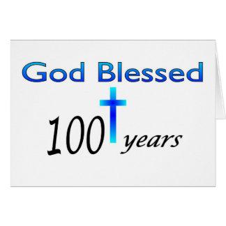 Dios bendijo 100 años de regalo de cumpleaños tarjeta de felicitación