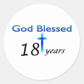 Dios bendijo 18 años de regalo de cumpleaños pegatina redonda