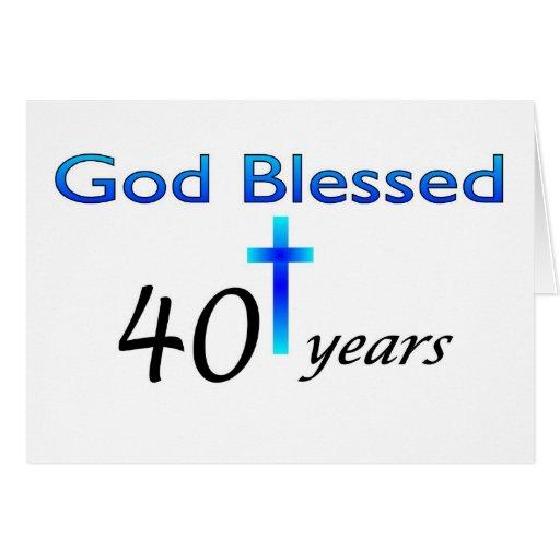 Dios bendijo 40 años de regalo de cumpleaños tarjeta de felicitación