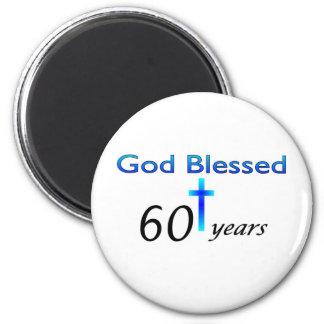 Dios bendijo 60 años de regalo de cumpleaños iman para frigorífico