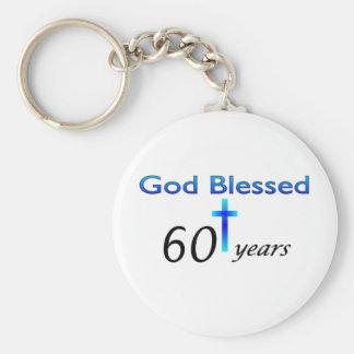 Dios bendijo 60 años de regalo de cumpleaños llavero personalizado