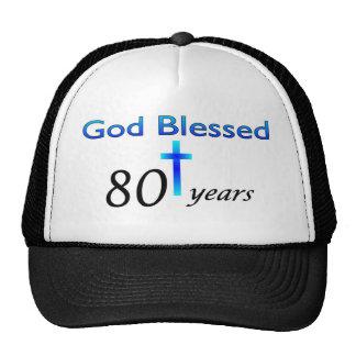 Dios bendijo 80 años de regalo de cumpleaños gorros bordados