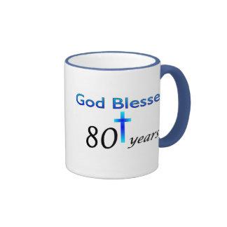 Dios bendijo 80 años de regalo de cumpleaños taza