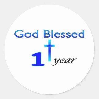 Dios bendijo el regalo de cumpleaños de 1 año pegatina redonda