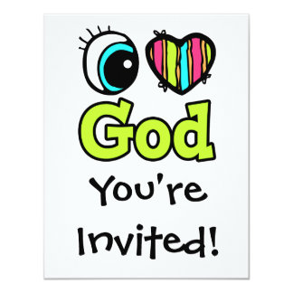 """Dios brillante del amor del corazón I del ojo Invitación 4.25"""" X 5.5"""""""
