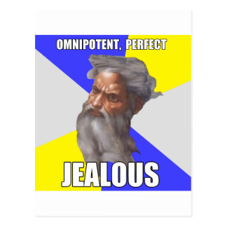 Dios celoso del duende tarjeta postal