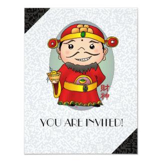 """Dios chino lindo de la riqueza invitación 4.25"""" x 5.5"""""""