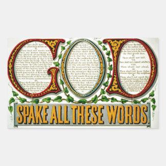 DIOS con diez mandamientos modificó al pegatina