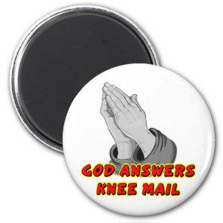 Dios contesta al correo de la rodilla imán redondo 5 cm