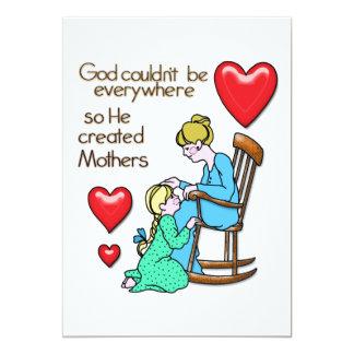 """Dios creó a madres invitación 5"""" x 7"""""""