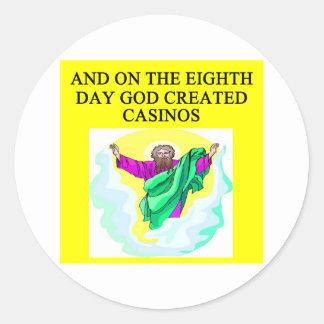 dios creó casinos pegatina redonda