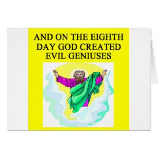 dios creó genios malvados felicitacion