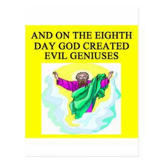 dios creó genios malvados tarjeta postal