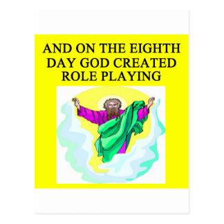 dios creó jugar del papel tarjeta postal