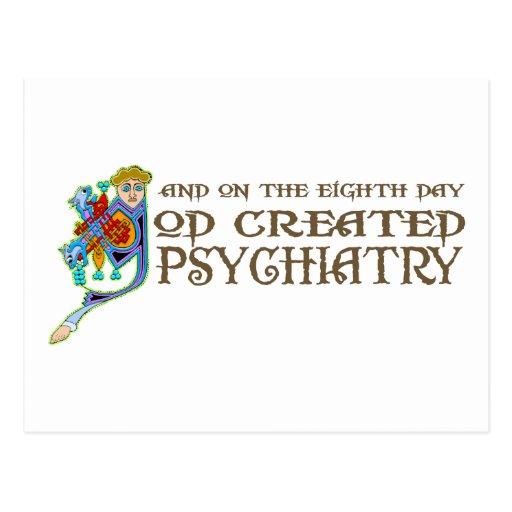 Dios creó la psiquiatría tarjeta postal