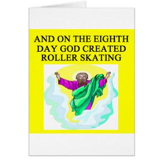 dios creó patinaje sobre ruedas tarjeta de felicitación