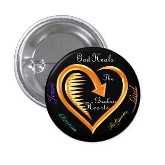 Dios cura el Hearts8 quebrado Pin Redondo De 1 Pulgada