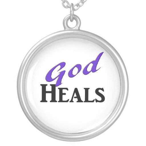 Dios cura el texto negro púrpura colgante redondo