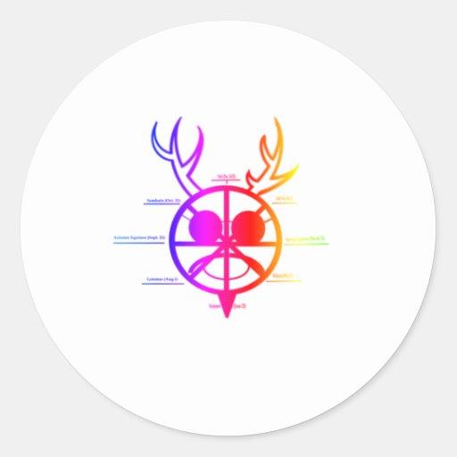 Dios de cuernos del arco iris pegatina redonda
