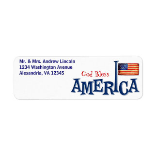 Dios de la bandera americana bendice etiquetas de etiqueta de remite