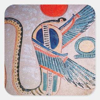 Dios de la cobra, egipcio pegatina cuadrada