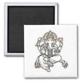 Dios de la deidad hindú de Ganesha Imán Cuadrado