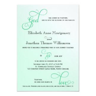 """Dios de la escritura de la menta fresca es boda invitación 5"""" x 7"""""""
