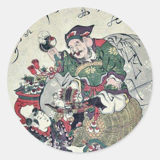 Dios de la fortuna y niños por UtamaroII, D. Ca Etiquetas Redondas