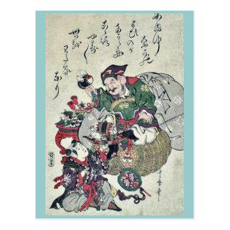 Dios de la fortuna y niños por UtamaroII, D. Ca Postal