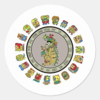 dios de la muerte del Maya-calendario Pegatina Redonda