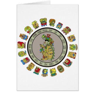 dios de la muerte del Maya-calendario Tarjeton