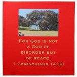 Dios de la paz (1 14:33 de los Corinthians) Servilletas Imprimidas