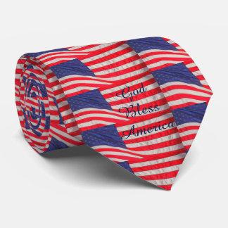 Dios de las banderas americanas del lazo bendice corbata personalizada