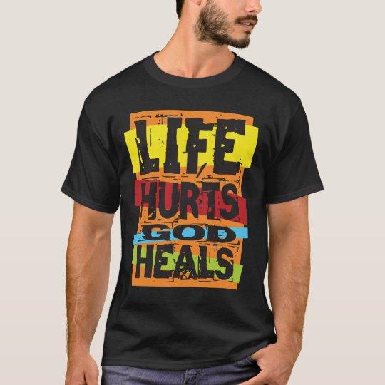 Dios de los daños de la vida cura la camiseta azul