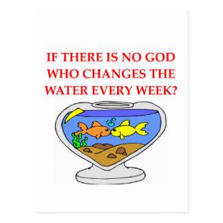 dios de los pescados postal