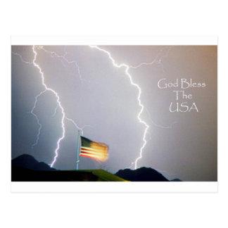 Dios de los rayos bendice los E.E.U.U. Postal