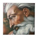 Dios de Miguel Ángel en la creación de Adán Azulejo Cuadrado Pequeño